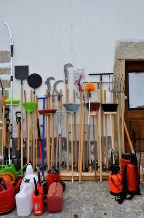 agricultural tools: Traditional agricultural tools exposed in the street