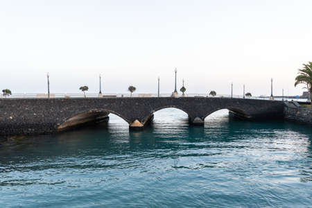 View of the Charco de San Gines bridge in Arrecife on the island of Lanzarote, Canary Islands, Spain