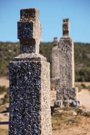 viacrucis: Crosses of Catholic ritual of  Viacrucis  on a path