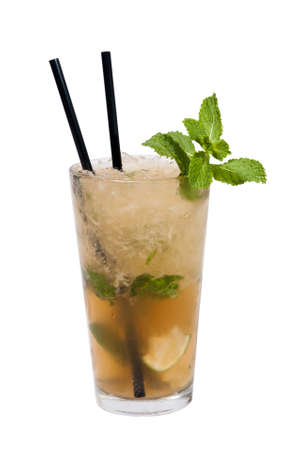 Cold drink with lime and mint photo