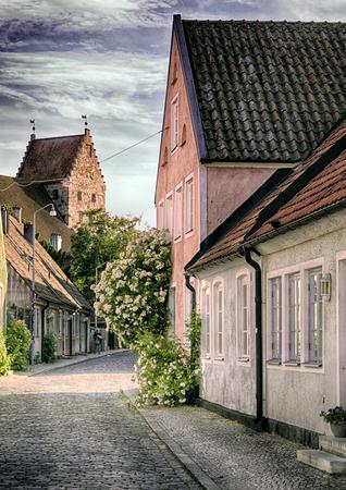 house gables: A street scene from the Swedish town of Simrishamn. Stock Photo