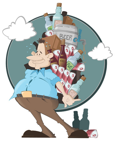 how much booze does one man need? detailed illustration of a very greedy man with a large supply of alcohol. Vector