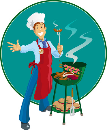 Cook with his barbeque