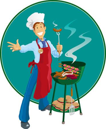 c�telette de porc: Cuisinez avec son barbecue.  Illustration