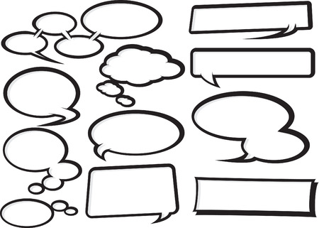 cool collection of fully editable funky cartoon style speech bubbles
