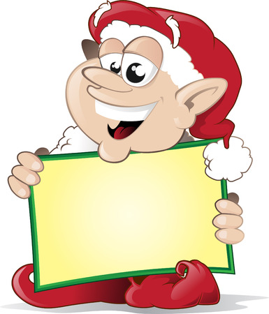 Happy Elf with his christmas sign Vector