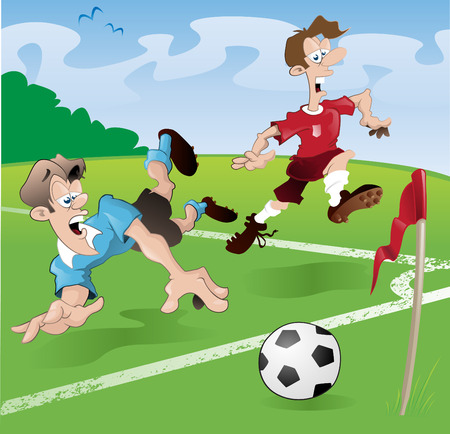 corner kick: These players clearly have no regard for the rules of the beautiful game Illustration