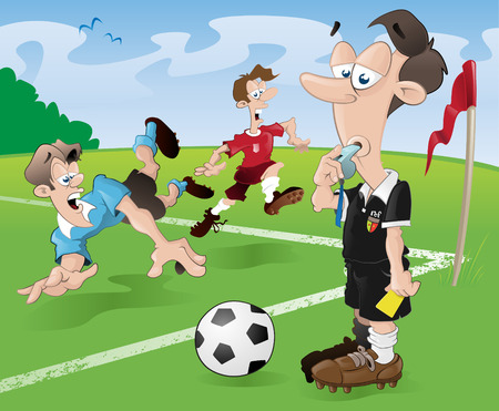 This football referee looks as if he has had enough of this game of soccer. These players clearly have no regard for the rules of the beautiful game (that is soccer for all of you guys outside of europe!) Vector