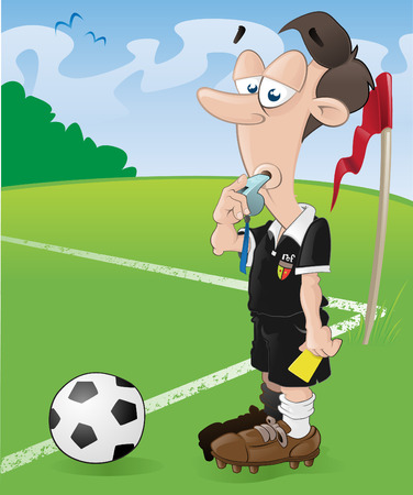 whistling: This football referee looks as if he has had enough of this game of soccer.