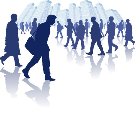 illustration of various people walking through a city environment. All individual elements are separately grouped and layered for easy editing. Vector
