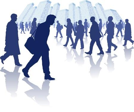 illustration de diverses personnes promenant dans un environnement de la ville. Tous les éléments individuels regroupés séparément et en couches pour faciliter la modification.