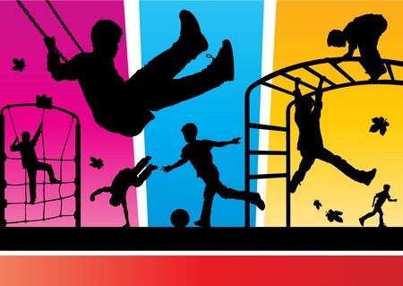 excitement: Funky Playground Silhouettes Illustration