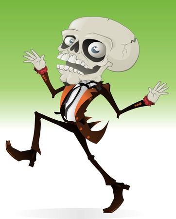 creepy monster: Spaventoso Halloween personaggio con un teschio per la testa con un damerino guardando il corpo umano.