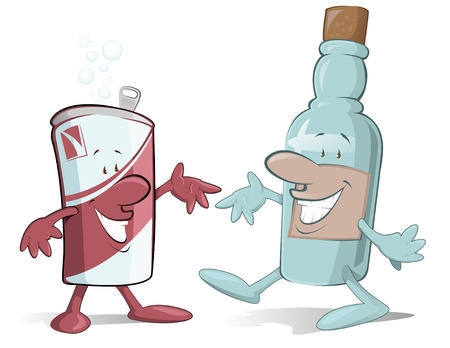 alcoholic beverage: Cartoon beer Can and Booze Bootle characters off to have a party