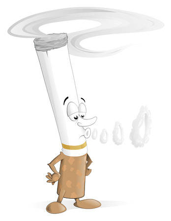 cancer drugs: illustration of cartoon cigarette character blowing smoke rings