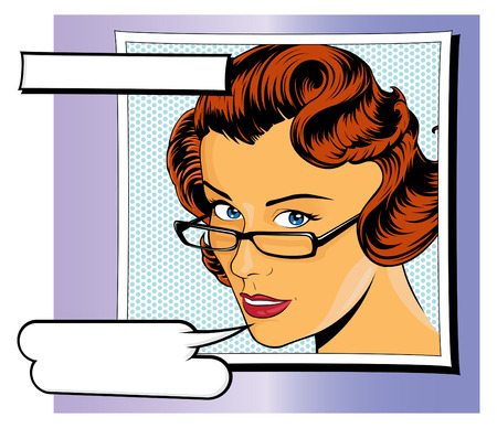 Stylish illustration of a Pop Art Girl with Speech Bubbles