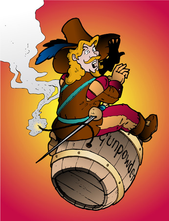 guy fawkes night: Guy Fawkes sitting on a barrel of gunpowder that is about to explode on Bonfire Night Illustration