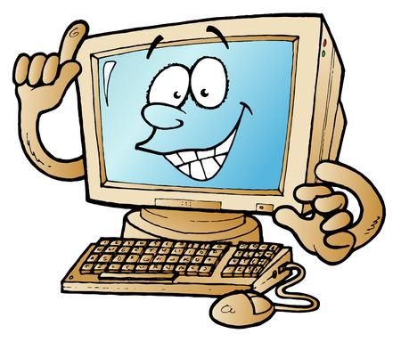 Ilustración de dibujos animados de una computadora en casa apuntando hacia el cielo de vectores  Foto de archivo - 8039209