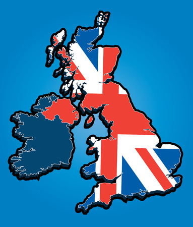 Vector Map of the United Kingdom with Union Jack National Flag Stock Vector - 8166845