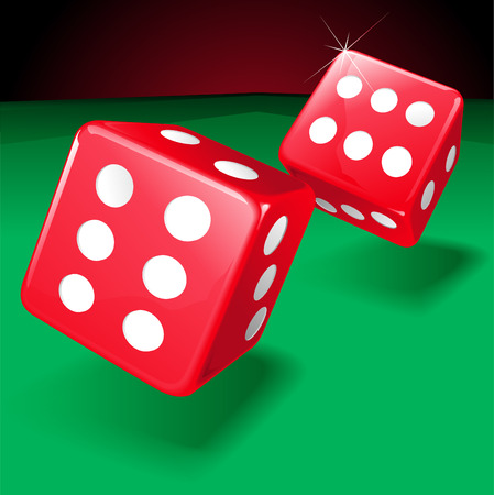 Vector illustration on two rolling dice showing two lucky sixes