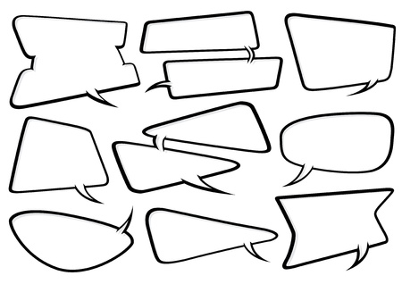 a cool collection of fully editable Odd Shaped cartoon style speech bubbles. Manipulate these bubbles to whatever shape and size you need. Illustration