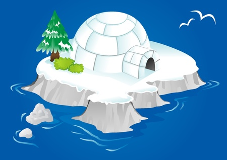 arctic landscape: igloo stranded in the ocean on an iceberg
