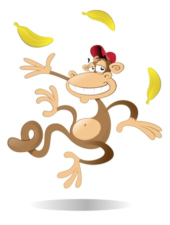 Monkey juggling three bananas Illustration