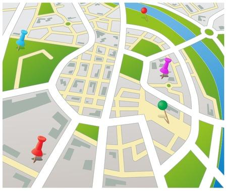 topografia: Plano de una ciudad gen�rica con pernos de empuje vectorial editable