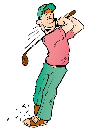 Male Golfer teeing off with his driver Illustration