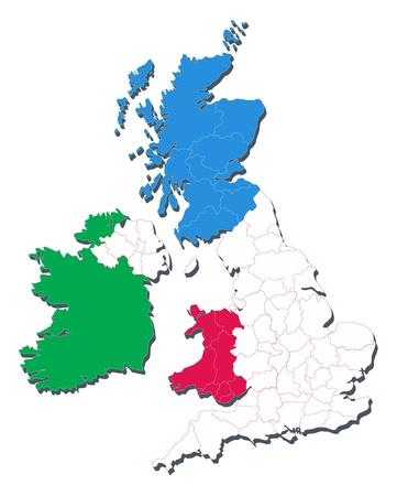 hampshire: Mapa de Reino Unido incluyendo pa�ses y condados Vectores