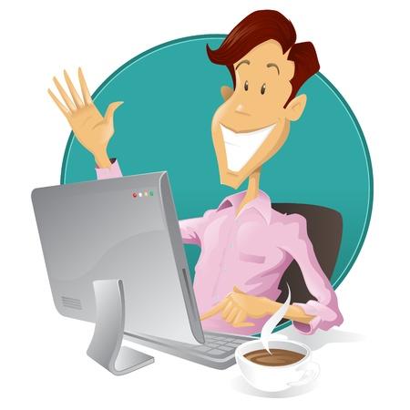 computadora caricatura: Ilustraci�n de estilo retro de un hombre feliz, buscar en internet.