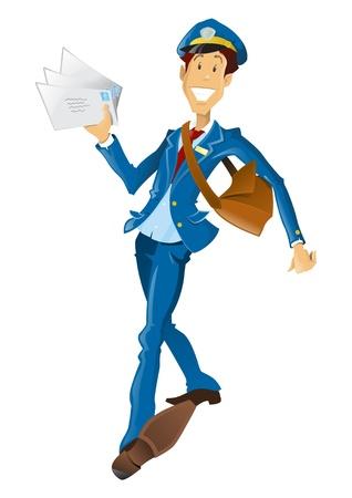 mail man: Happy Man retro estilo post entrega de correo. Vectores