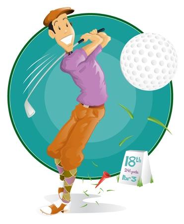 happy 18th: Happy retro style Man playing golf.