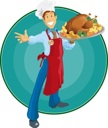 Happy Thanksgiving Chef with apron and chef Illustration