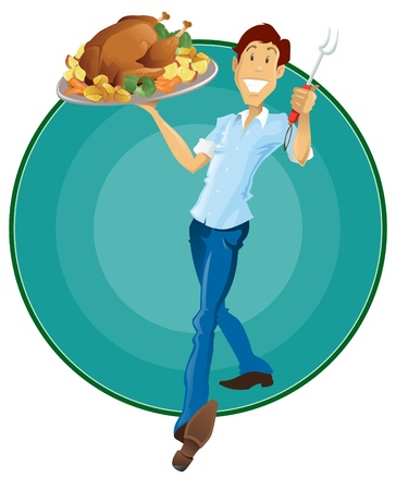 holiday food: Happy Thanksgiving man holding Roasted Turkey and Vegetables. Illustration