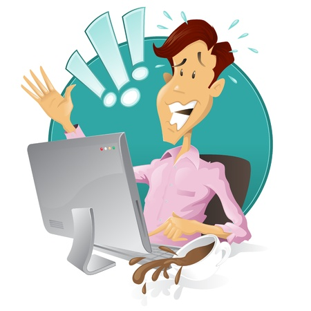stressed businessman: Worried man has done something terribly wrong with his computer! Illustration