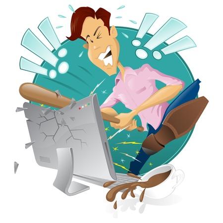 business stress: hombre frustrado enojado destruir su computadora Vectores