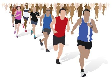 maratón: Skupina maraton běžců. Ilustrace