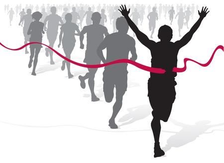 donna che corre: Atleta vincente davanti a un gruppo di maratoneti. Vettoriali
