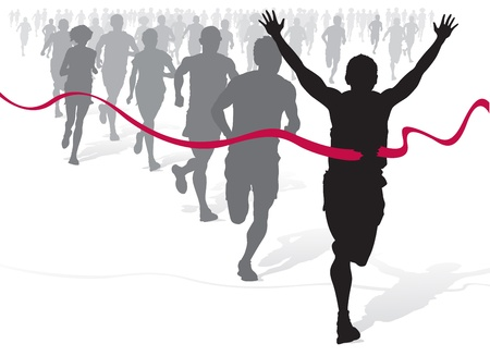 running woman: Winning Athlete ahead of a group of marathon runners. Illustration