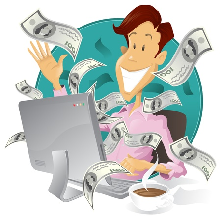 Happy businessman making money on the internet Illustration