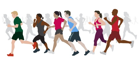 mujer ejercitandose: Grupo de corredores de marat�n. Vectores