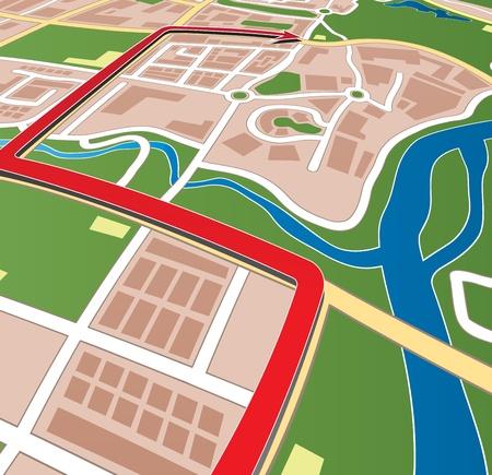 City street map with navigation arrow. Illustration
