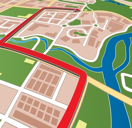 road map: City street map with navigation arrow. Illustration