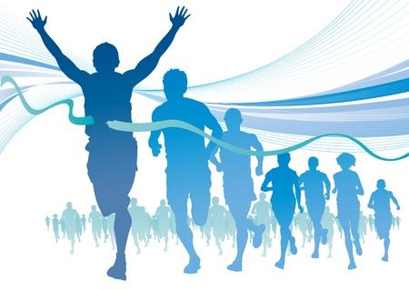Gruppo dei maratoneti su sfondo turbinio astratto.