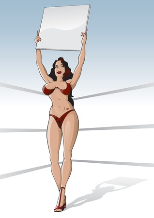 Boxing ring girl with blank card Vector