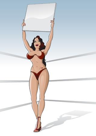 tattoo girl: Chica de ring de boxeo con tarjeta en blanco