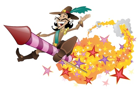 guy fawkes: Guy Fawkes flying on a firework rocket.