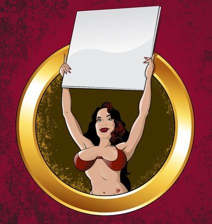 sexy girl bikini: Boxing ring girl with blank card on Grunge background