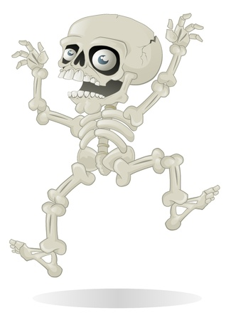 Halloween Skeleton jumping with fright Illustration